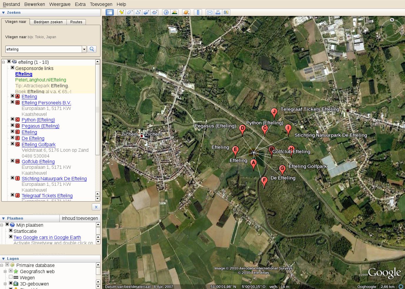 volgens de linux versie van Google Earth ligt de Efteling in Belgie