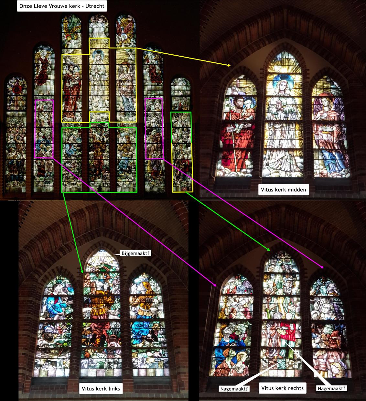 Vernieuwde indeling van het glas-in-lood raam